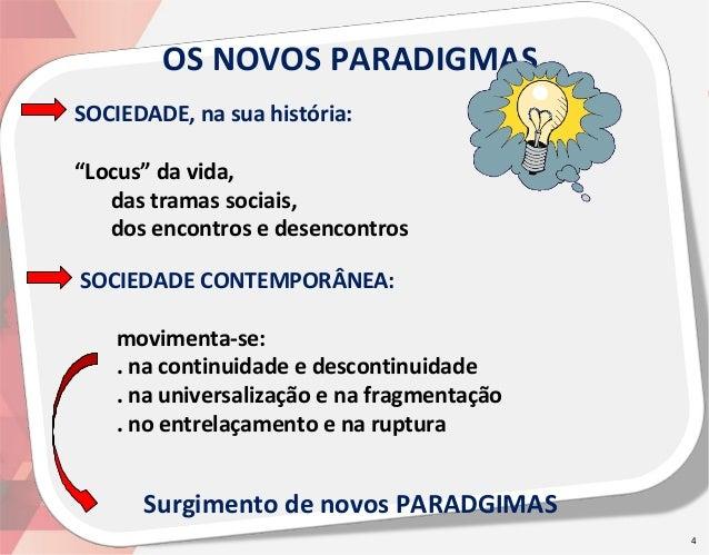 """OS NOVOS PARADIGMAS SOCIEDADE, na sua história: """"Locus"""" da vida, das tramas sociais, dos encontros e desencontros SOCIEDAD..."""