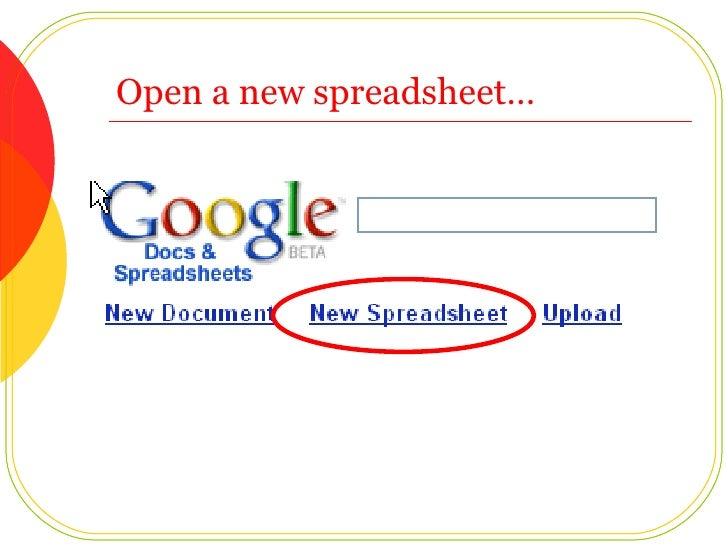 Open a new spreadsheet…