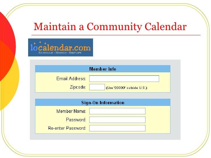 Maintain a Community Calendar