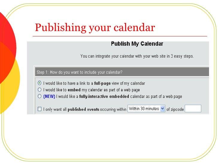 Publishing your calendar