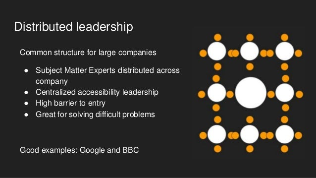 Mixed: Distributed Leaders + Allies ● Low barrier to entry ● Path to become a leader ● Distributed leaders ● Centralized l...