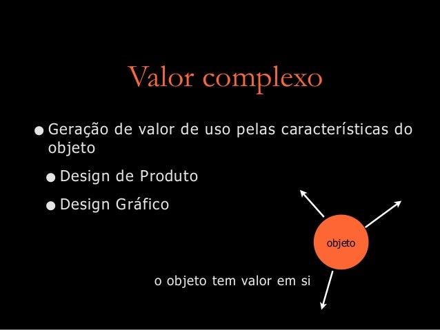 Valor complexo •Geração de valor de uso pelas características do objeto •Design de Produto •Design Gráfico objeto o objeto...