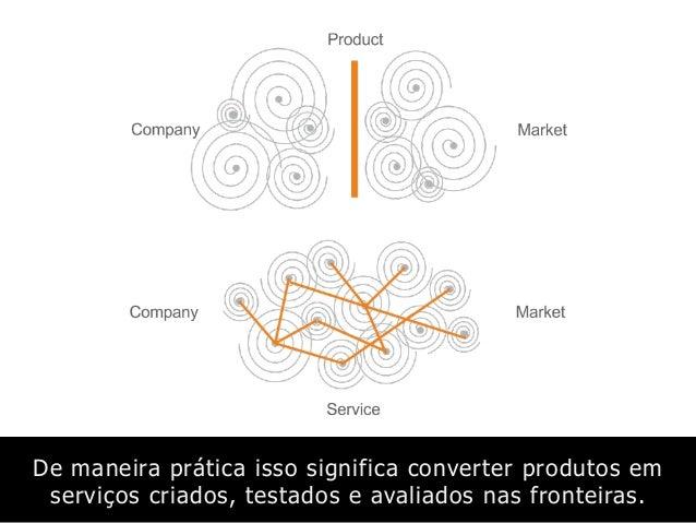 De maneira prática isso significa converter produtos em serviços criados, testados e avaliados nas fronteiras.