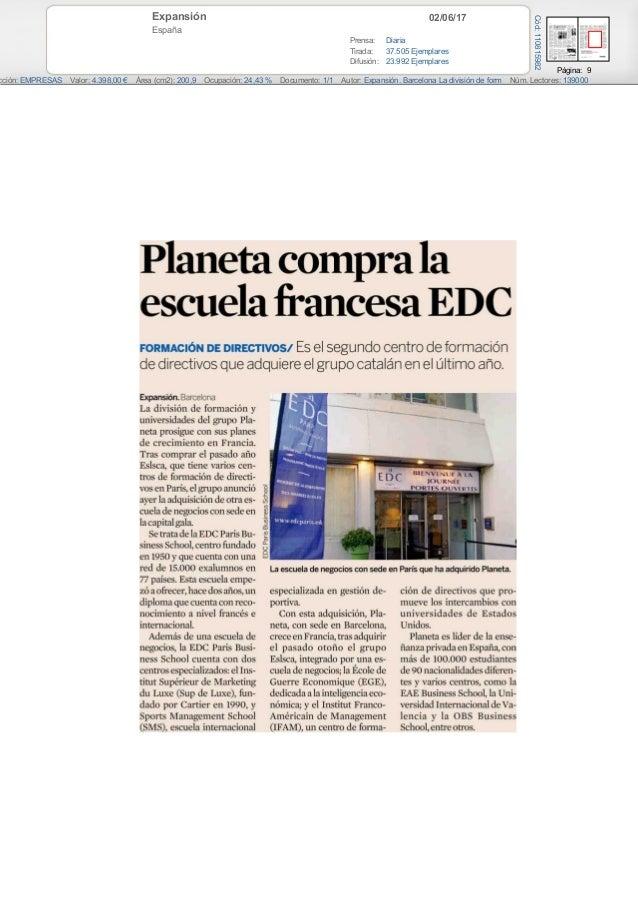 02/06/17Expansión España Prensa: Diaria Tirada: 37.505 Ejemplares Difusión: 23.992 Ejemplares Página: 9 cción: EMPRESAS Va...
