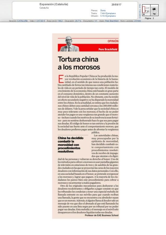 29/09/17Expansión (Cataluña) Cataluña Prensa: Diaria Tirada: 7.444 Ejemplares Difusión: 5.153 Ejemplares Página: 2 Sección...