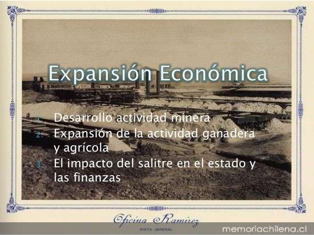 1.   Desarrollo actividad minera2.   Expansión de la actividad ganadera     y agrícola3.   El impacto del salitre en el es...