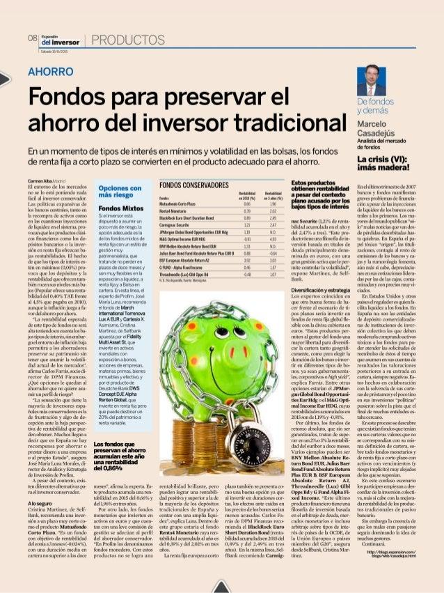 Fondos para preservar el ahorro del inversor tradicional
