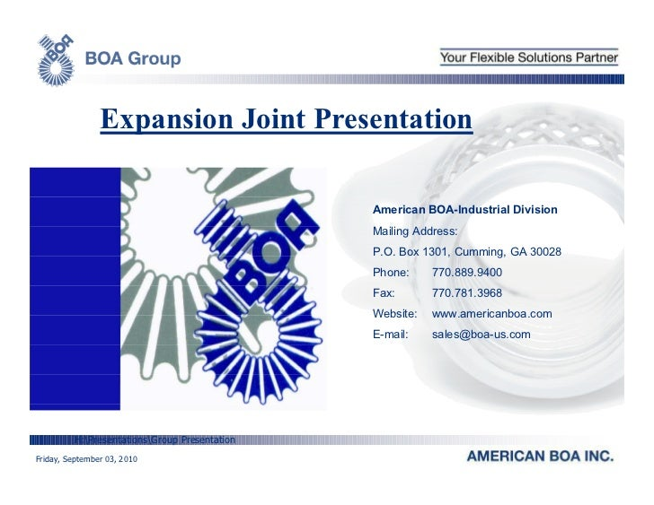 Expansion Joint Presentation                                               American BOA-Industrial Division               ...
