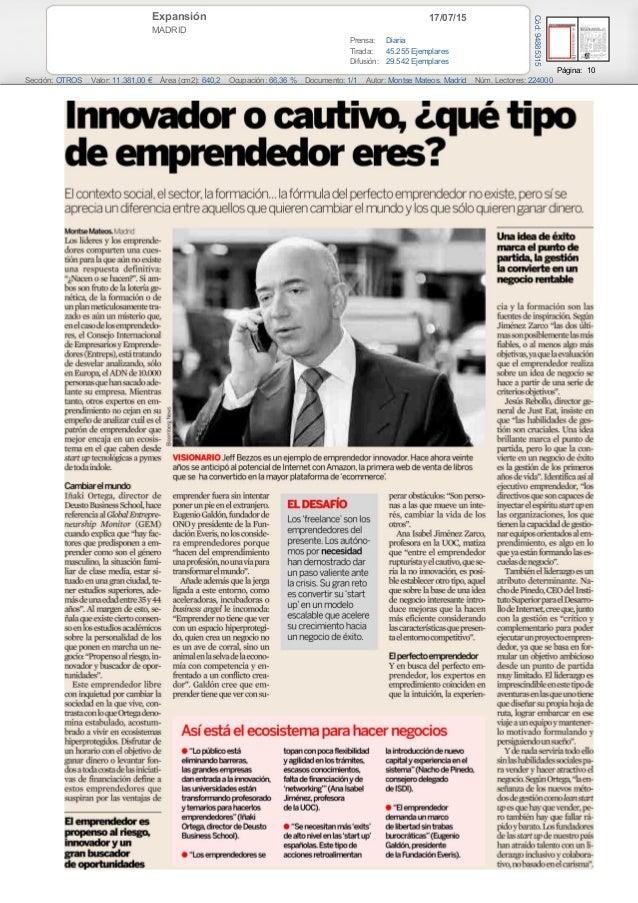 17/07/15Expansión MADRID Prensa: Diaria Tirada: 45.255 Ejemplares Difusión: 29.542 Ejemplares Página: 10 Sección: OTROS Va...