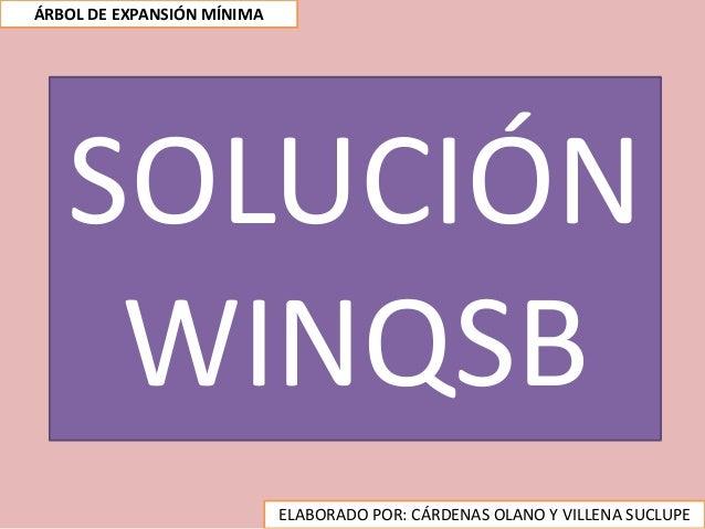 SOLUCIÓN WINQSB ELABORADO POR: CÁRDENAS OLANO Y VILLENA SUCLUPE ÁRBOL DE EXPANSIÓN MÍNIMA