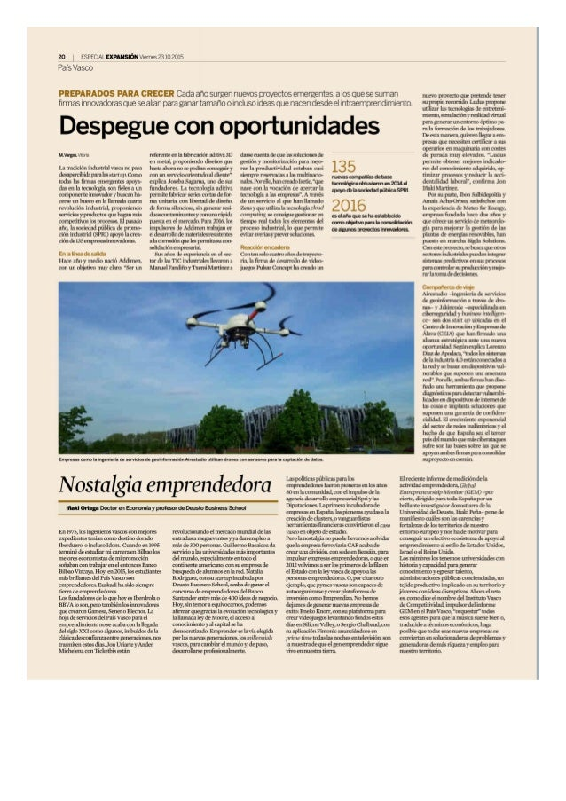 20 ESPECIAL EXPANSIGN Vxemes 2310 2015  Pals Vasco  PREPARADOS PARA CRECER Cada afio surgen nuevos proyectos emergentes,  a...