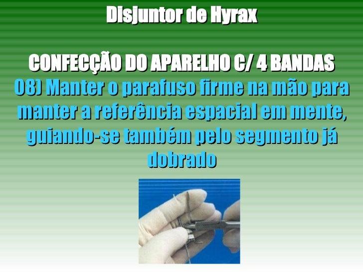 Disjuntor de Hyrax CONFECÇÃO DO APARELHO C/ 4 BANDAS 08) Manter o parafuso firme na mão para manter a referência espacial ...