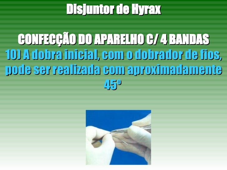 Disjuntor de Hyrax CONFECÇÃO DO APARELHO C/ 4 BANDAS 10) A dobra inicial, com o dobrador de fios, pode ser realizada com a...