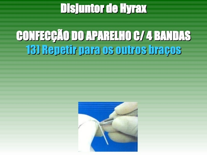 Disjuntor de Hyrax CONFECÇÃO DO APARELHO C/ 4 BANDAS 13) Repetir para os outros braços