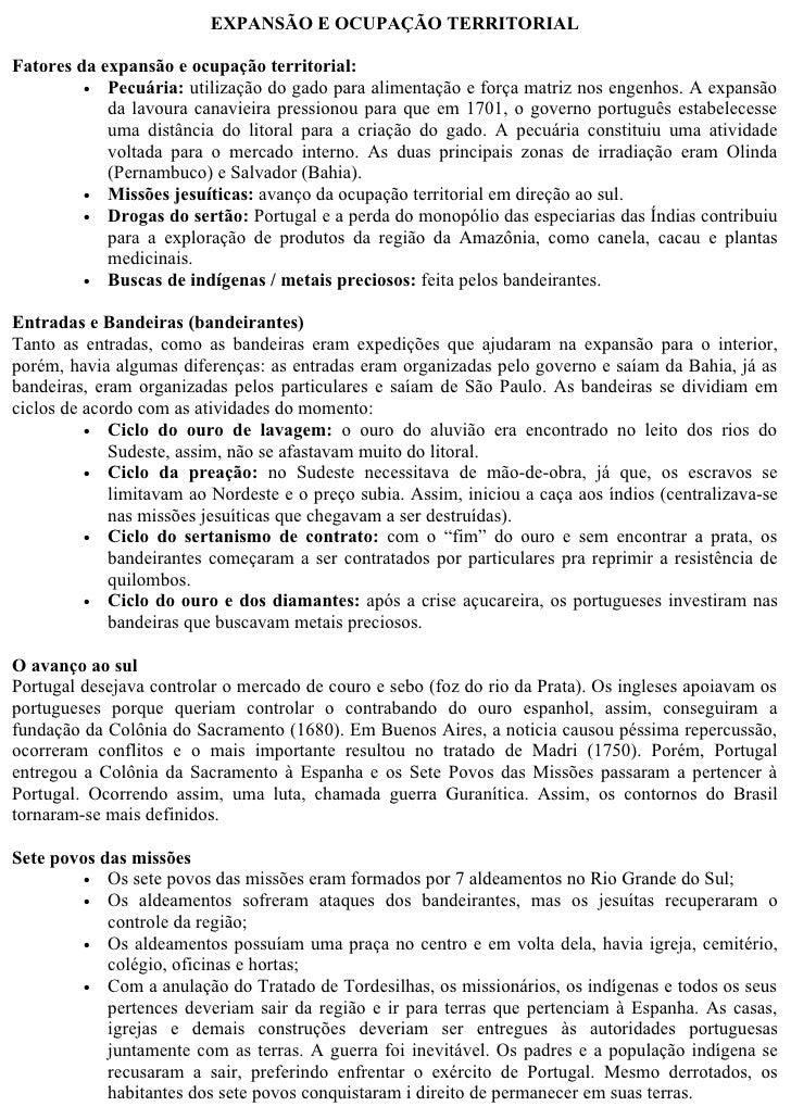 EXPANSÃO E OCUPAÇÃO TERRITORIAL  Fatores da expansão e ocupação territorial:          • Pecuária: utilização do gado para ...