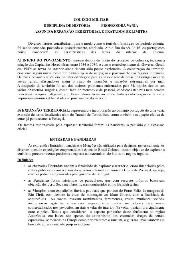 COLÉGIO MILITAR                 DISCIPLINA DE HISTÓRIA                  PROFESSORA VANIA             ASSUNTO: EXPANSÃO TER...