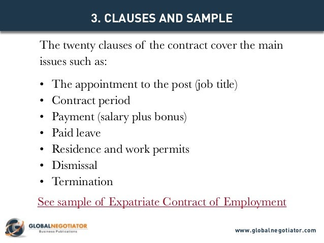 Expatriate Contract Of Employment  Contract Template And Sample
