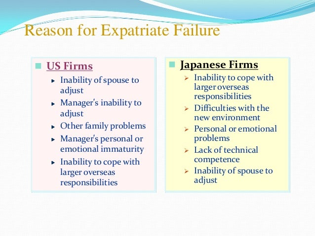 reasons for expatriate failure pdf