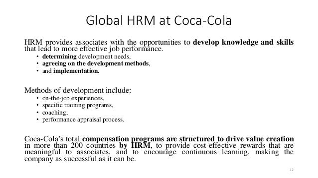 training and development of coca cola company