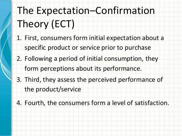 disconfirmation of expectation model Evaluating medication-related services in a hospital setting using the disconfirmation of expectations model of satisfaction.