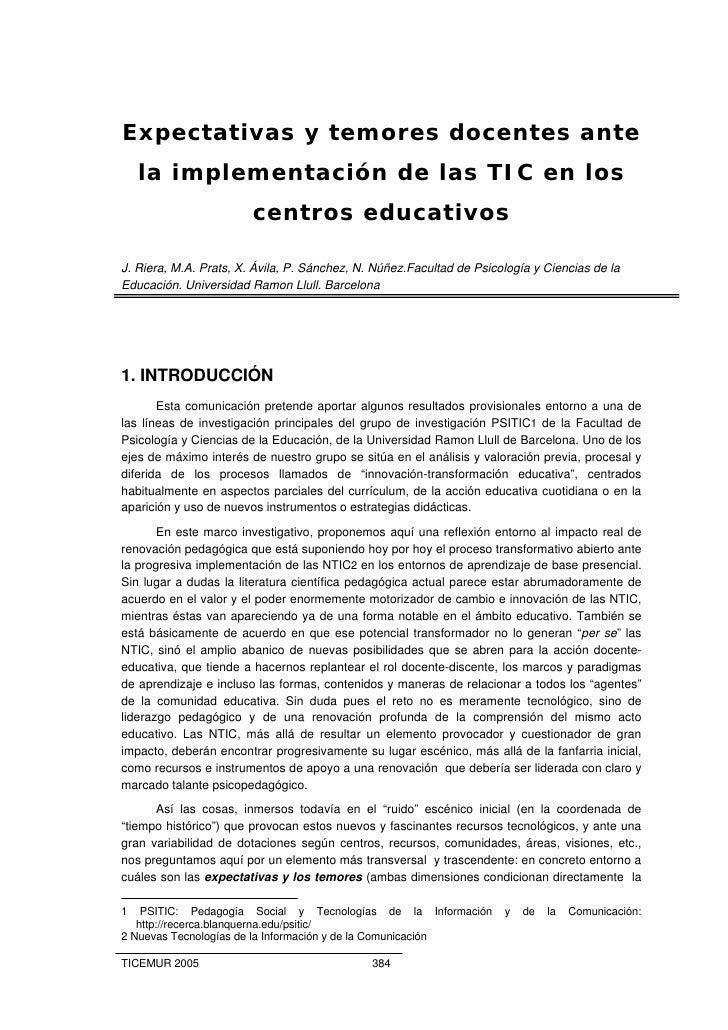 Expectativas y temores docentes ante     la implementación de las TIC en los                         centros educativos  J...