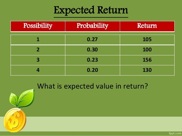 random variable and expected average return Expected value of a random variable we can interpret the expected value as the long term average of the outcomes of the let us return to the initial example of.