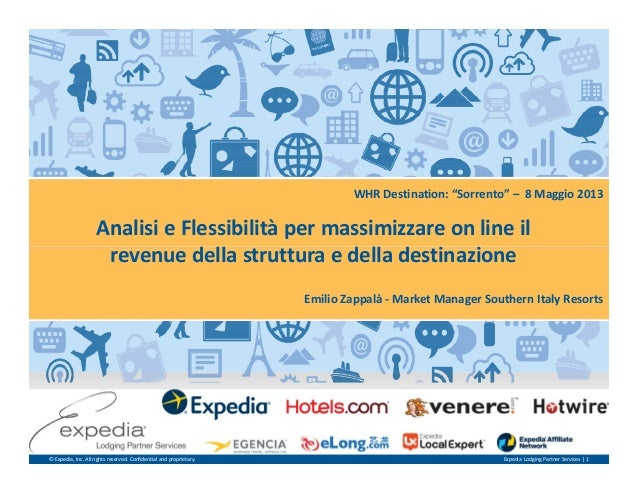 """Analisi e Flessibilità per massimizzare on line il revenue della struttura e della destinazione WHR Destination: """"Sorrento..."""