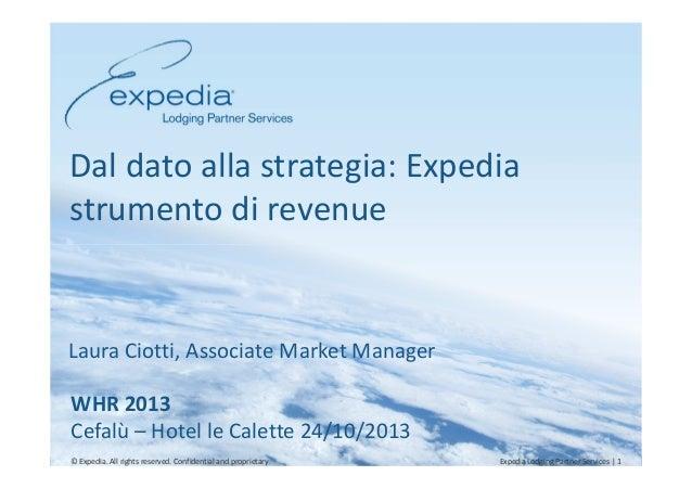 Dal dato alla strategia: Expedia strumento di revenue  Laura Ciotti, Associate Market Manager WHR 2013 Cefalù – Hotel le C...