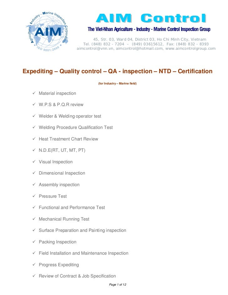 The Viet-Nhan Agriculture - Industry - Marine Control Inspection Group                                    45, Str. 03, War...