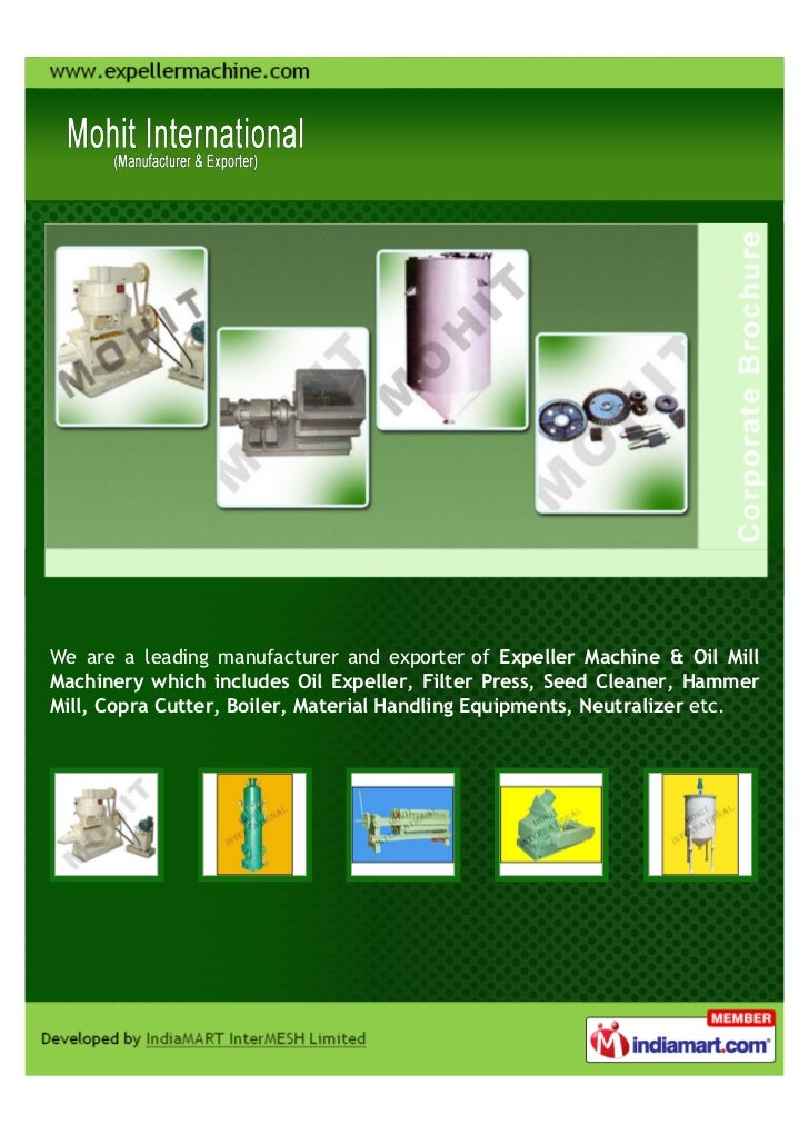We are a leading manufacturer and exporter of Expeller Machine & Oil MillMachinery which includes Oil Expeller, Filter Pre...