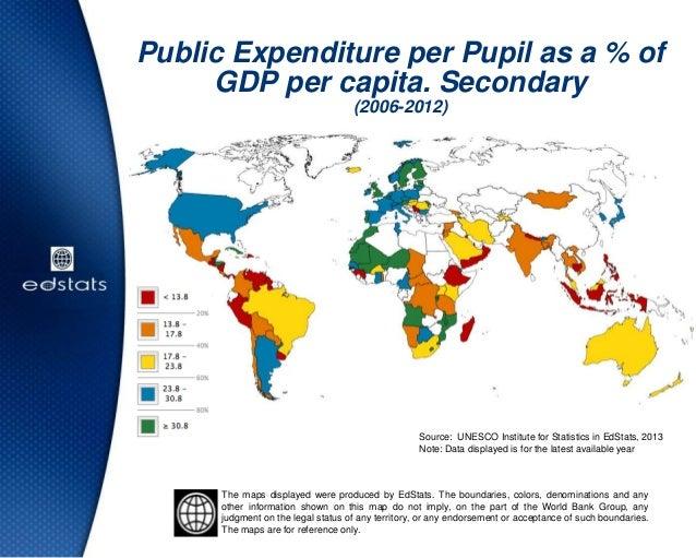 Public Expenditure per Pupil as a % ofGDP per capita. Secondary(2006-2012)Source: UNESCO Institute for Statistics in EdSta...