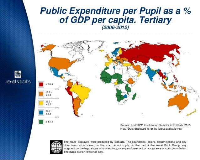 Public Expenditure per Pupil as a %of GDP per capita. Tertiary(2006-2012)Source: UNESCO Institute for Statistics in EdStat...