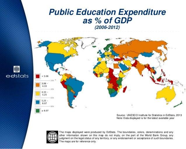 Public Education Expenditureas % of GDP(2006-2012)Source: UNESCO Institute for Statistics in EdStats, 2013Note: Data displ...