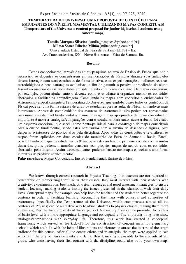 Experiências em Ensino de Ciências – V5(1), pp. 97-123, 2010 TEMPERATURA DO UNIVERSO: UMA PROPOSTA DE CONTEÚDO PARA ESTUDA...