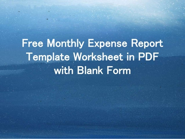 printable expense report template worksheet in pdf with blank form