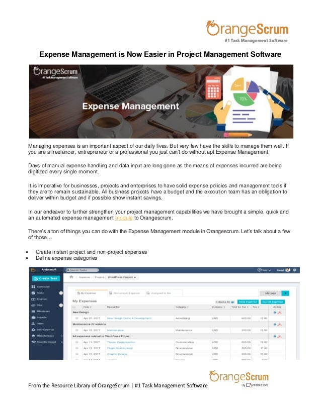 Expense management is now easier in project management