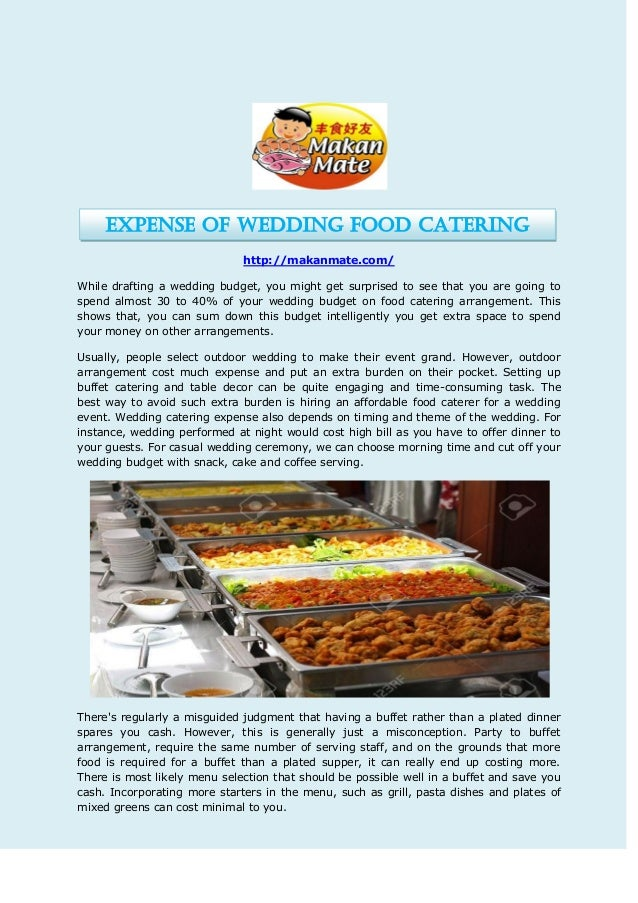 Expense of wedding food catering