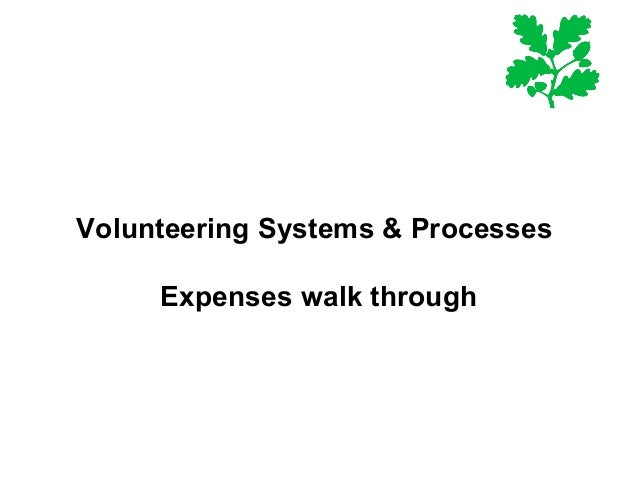 Volunteering Systems & Processes Expenses walk through