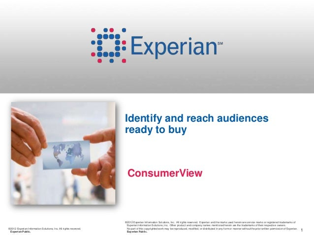 1©2012 Experian Information Solutions, Inc. All rights reserved. Experian Public. ©2012 Experian Information Solutions, In...