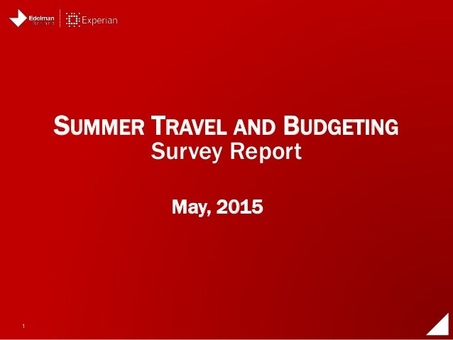 1 May, 2015 SUMMER TRAVEL AND BUDGETING Survey Report