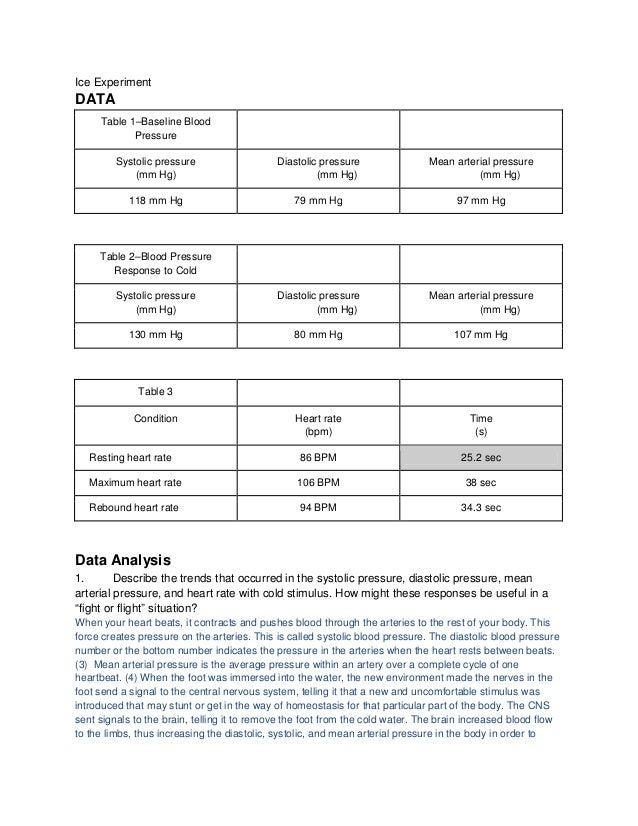 Ice ExperimentDATA     Table 1–Baseline Blood            Pressure         Systolic pressure                   Diastolic pr...