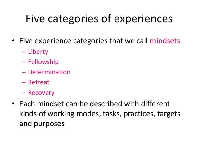 Five categories of experiences • Five experience categories that we call mindsets – Liberty – Fellowship – Determination –...