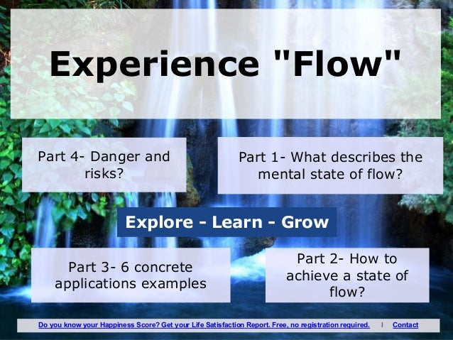 "Part 4- Danger and risks? Experience ""Flow"" Part 1- What describes the mental state of flow? Part 2- How to achieve a stat..."