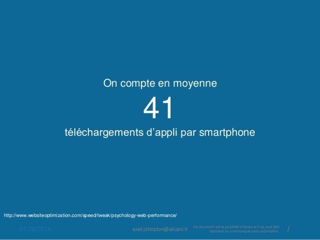 On compte en moyenne  41  téléchargements d'appli par smartphone  http://www.websiteoptimization.com/speed/tweak/psycholog...