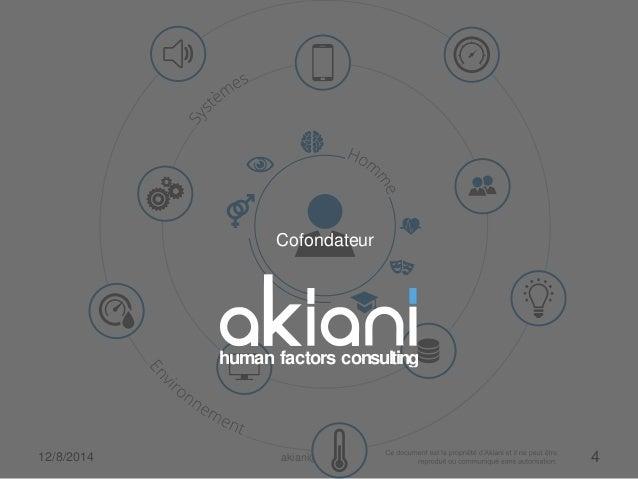 Cofondateur  human factors consulting  12/8/2014 akiani@akiani.fr 4