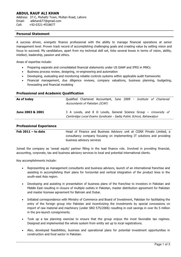 experienced chartered accountant - Professional Accounting Resume