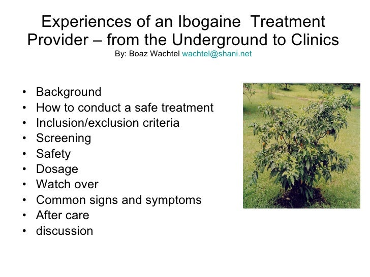 Experiences of an Ibogaine  Treatment Provider – from the Underground to Clinics By: Boaz Wachtel  [email_address] <ul><li...