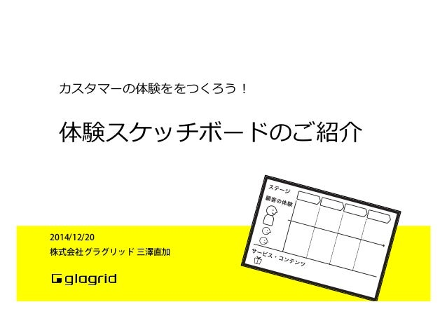 体験スケッチボードのご紹介 2014/12/20 株式会社グラグリッド 三澤直加 カスタマーの体験ををつくろう!