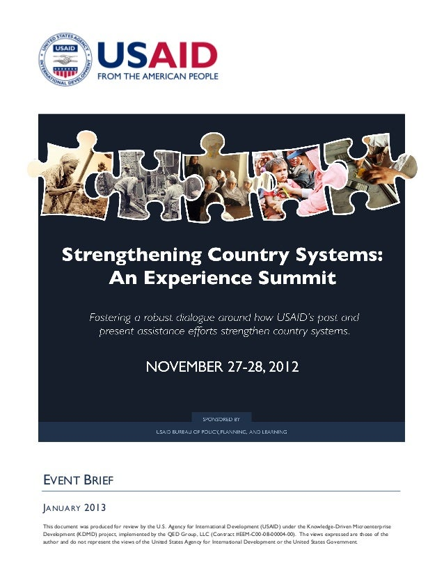 EVENT BRIEFJ ANUARY 2013This document was produced for review by the U.S. Agency for International Development (USAID) und...
