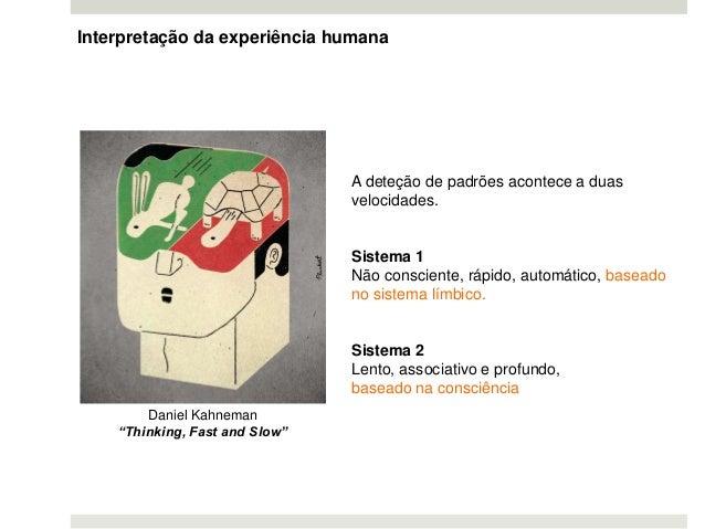 Interpretação da experiência humana A deteção de padrões acontece a duas velocidades. Sistema 1 Não consciente, rápido, au...